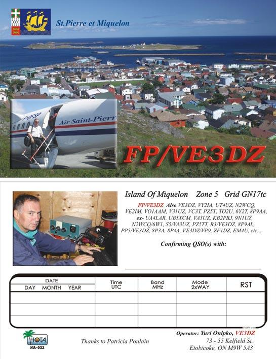 FP/VE3DZ QSL card